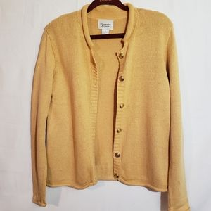 Christopher & Banks yellow button down sweater.